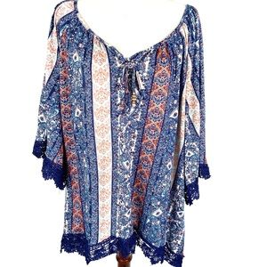 French Laundry blue / coral patterned peasant top